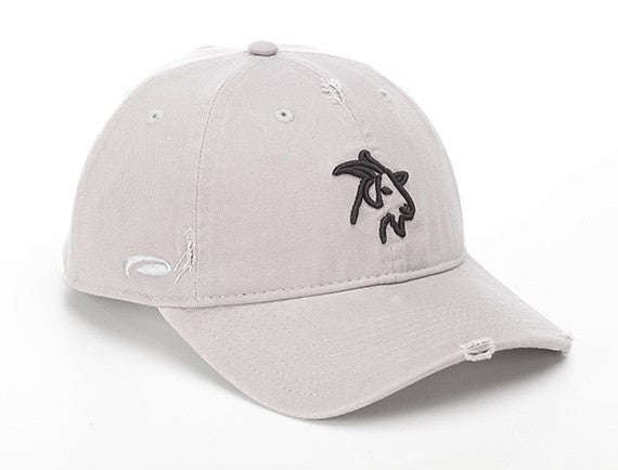 Gray Distressed Cotton Hat with GOAT Logo