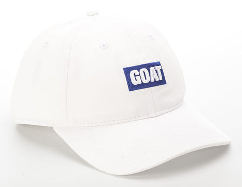 White Cotton with Blue GOAT Text