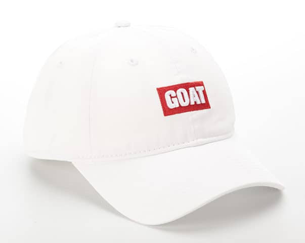 White Cotton with Red GOAT Text