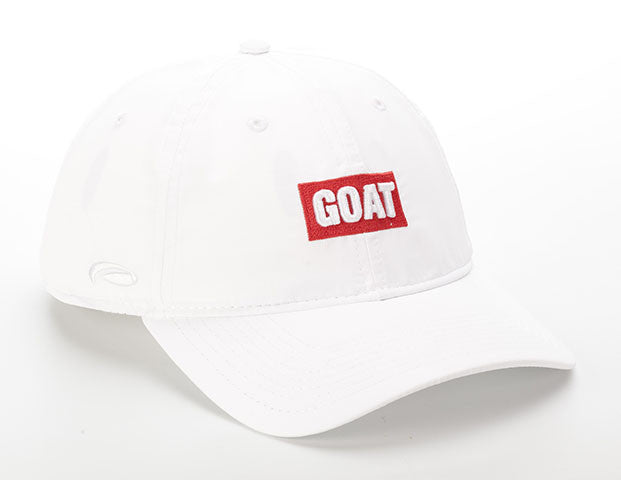 White Lightweight Polyester SPF 50 Hat With Red GOAT Text