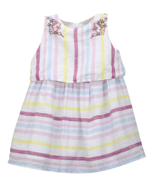 Baby Girl ' Riviera ' Multi Stripe Embroidered Dress