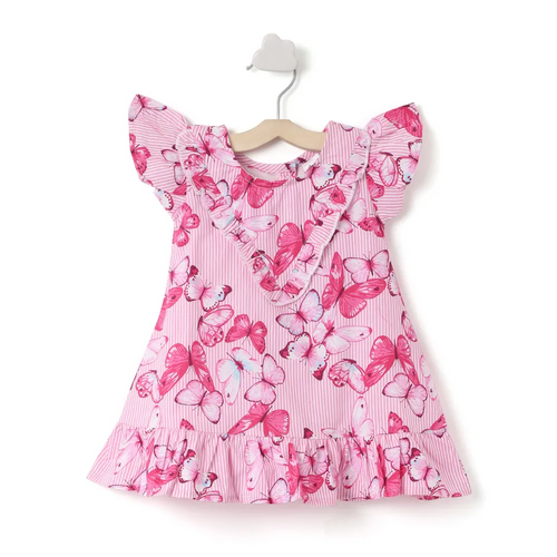 Baby Girl ' April ' Pink Butterfly Printed Dress
