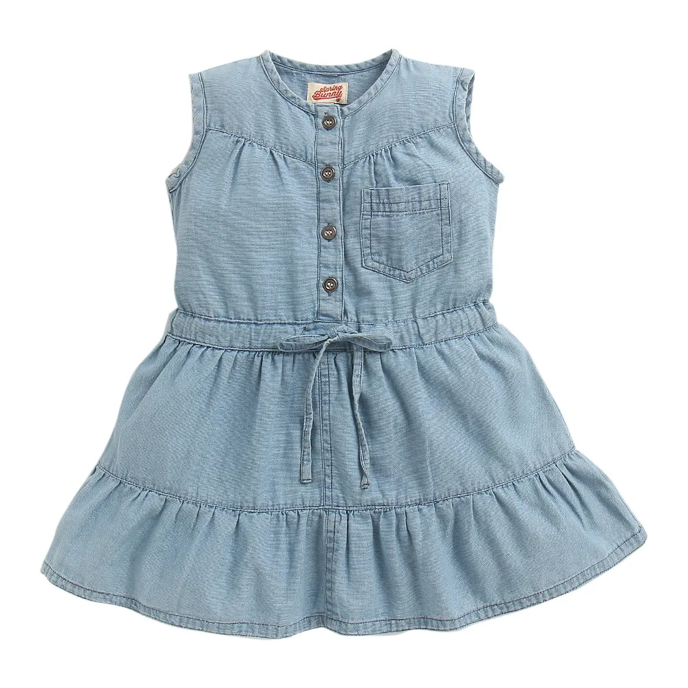 Sarah in the Toddler Girl 'Country Road' Denim Dress