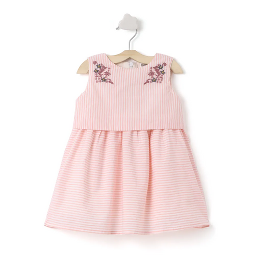 Baby Girl ' Crush ' Pink Stripe Embroidered Dress