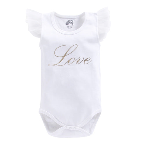 Baby Girl 'Love' White Onesie