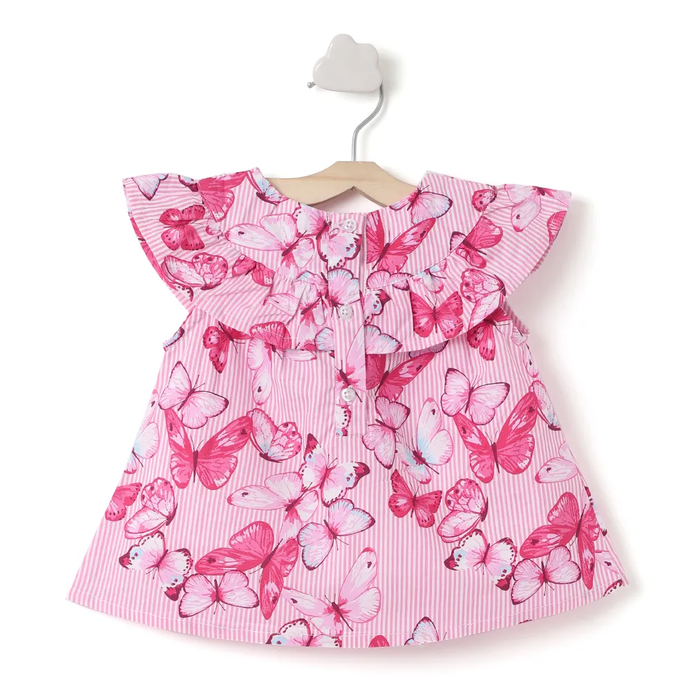 Baby Girl ' Happy ' Pink Butterfly Printed Top