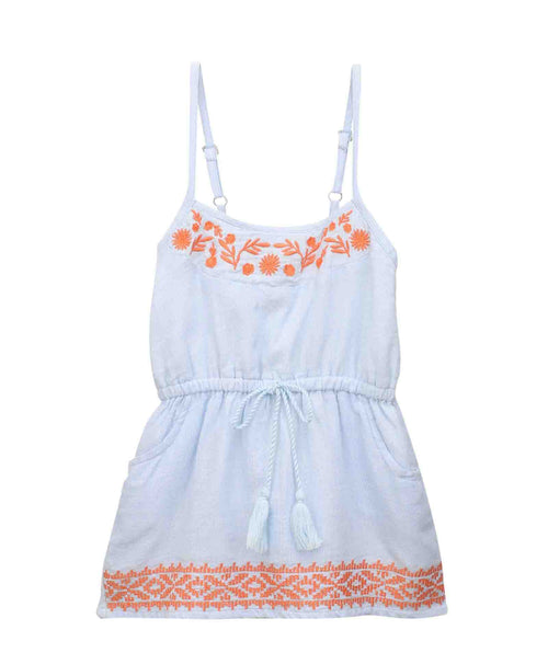 Baby Girl ' Sunshine ' Blue Strap Dress with Embroidery