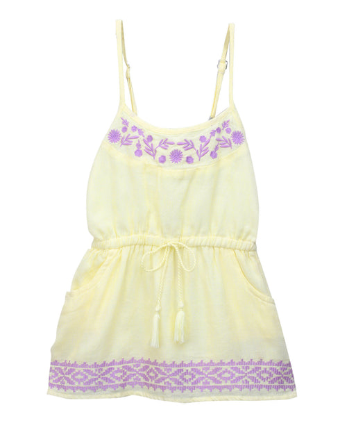 Baby Girl ' Sunshine ' Yellow Strap Dress with Embroidery
