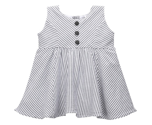Baby Girl ' ZigZag ' Grey Stripe  Dress