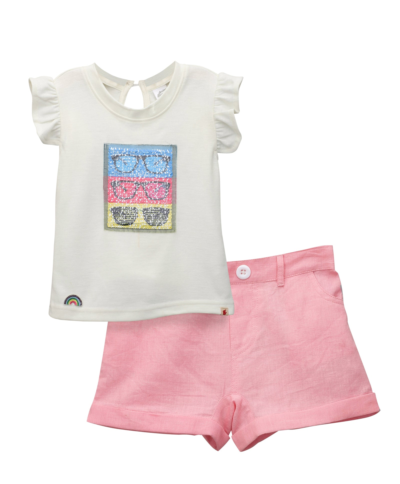 Toddler Girl ' Pearly '  Pink Short with Cotton Knitted Top