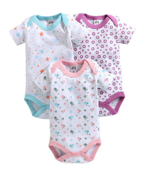 Baby Girl ' Lovely ' Pink Onesis Set of 3