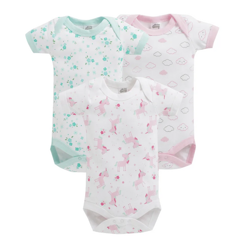 Baby Girl ' Maze ' White Onesis Set of 3