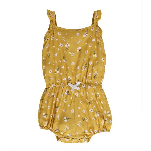 Baby Girl ' So Chic ' Yellow Printed Jumpsuit