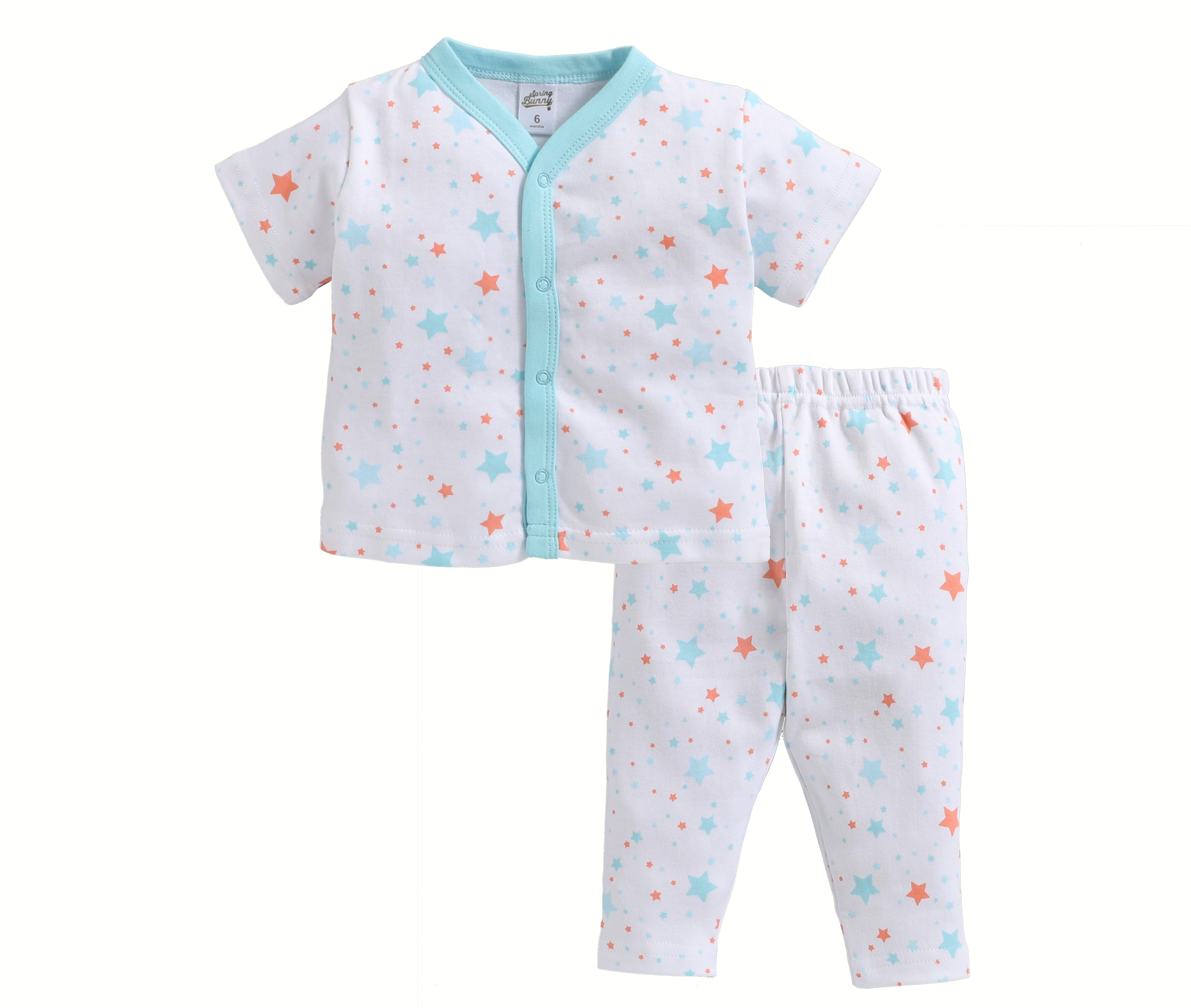 Baby Girl ' Stars ' Blue Pyjama Set