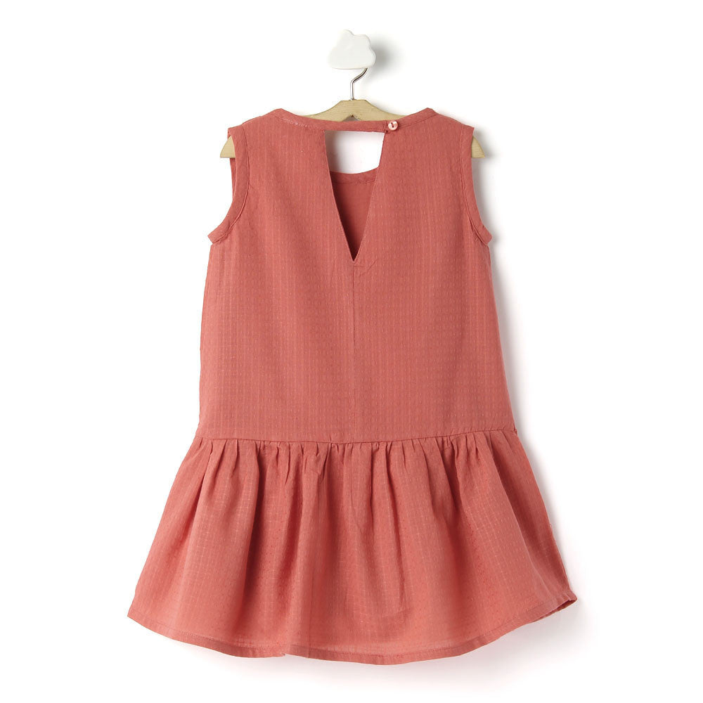 Toddler Girl Cotton 'Dobby' Coral Dress