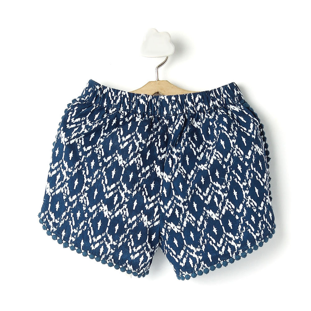 Toddler Girl 'Ikat' Cotton Navy Blue Shorts