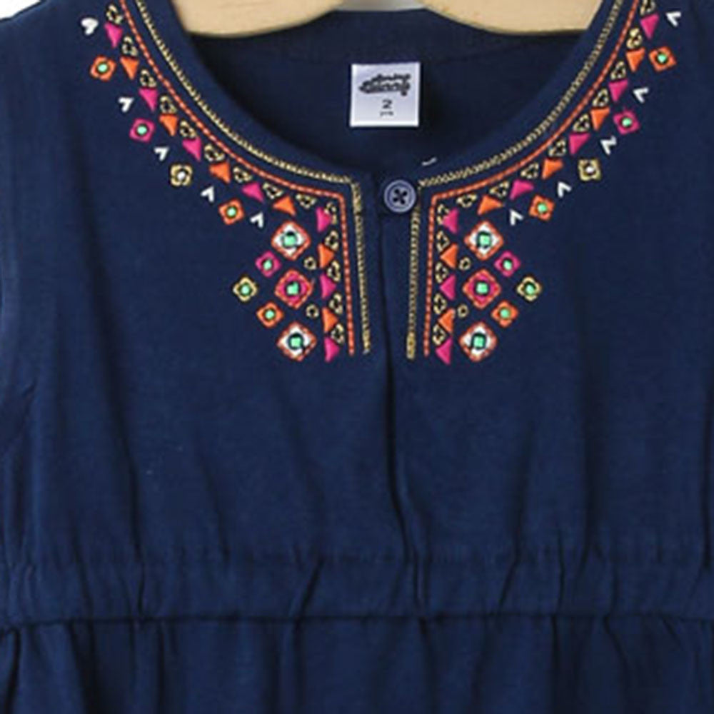 Toddler Girl 'Adorned' Solid Cotton Dress