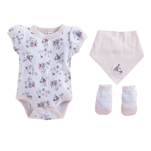 Baby Girl 'Sail Boat' Pink Romper Set
