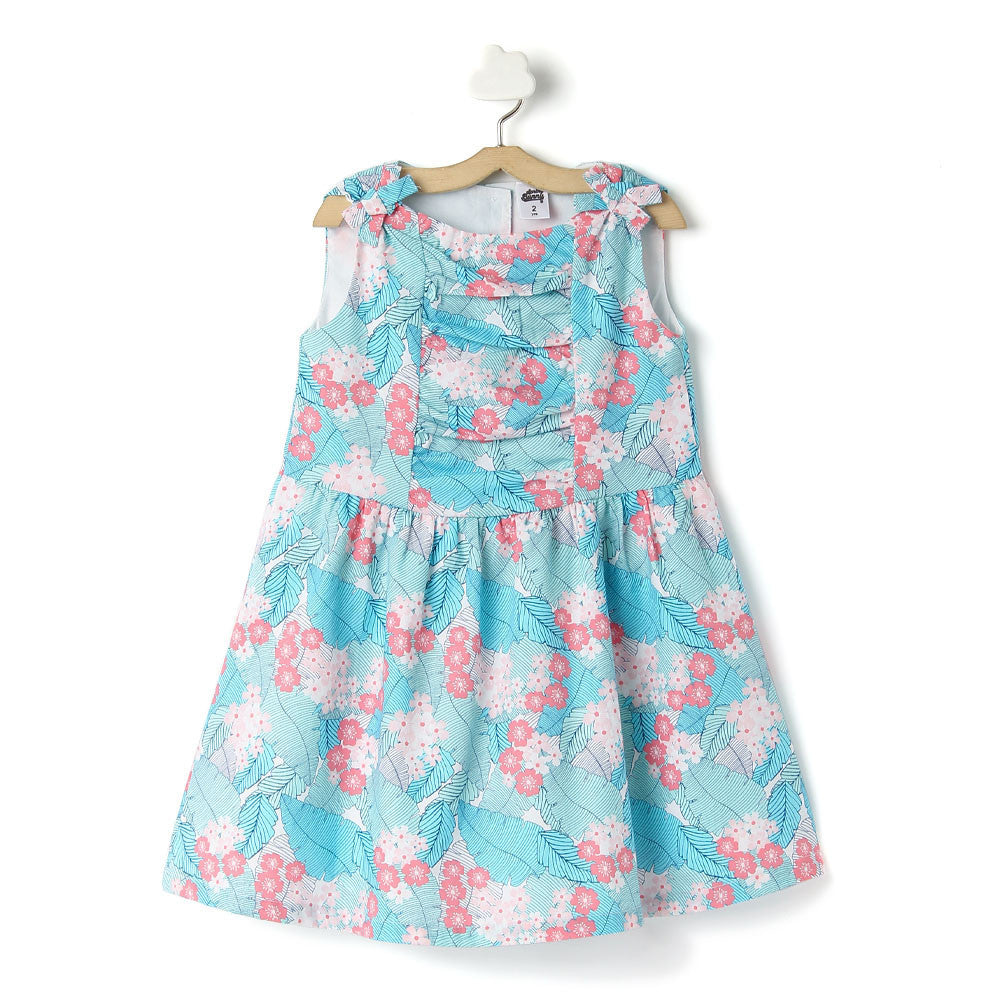 Toddler Girl 'Tropical' Cotton Multi Printed Dress