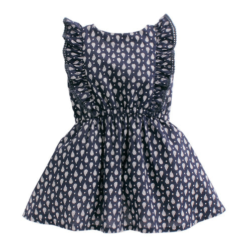 Baby Girl 'Paisley' Printed Navy Dress
