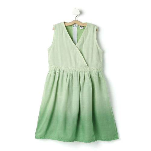 Girls 'Carolina' Solid Viscose Tie-Dye Green Dress