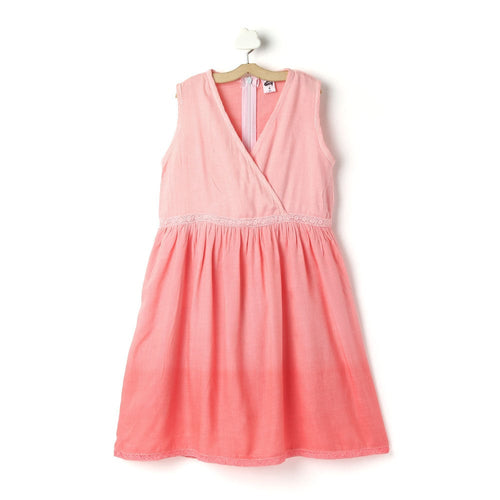 Girls 'Carolina' Solid Viscose Tie-Dye Pink Dress