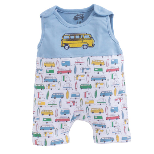 Baby Boy 'Surf's Up' Blue Romper