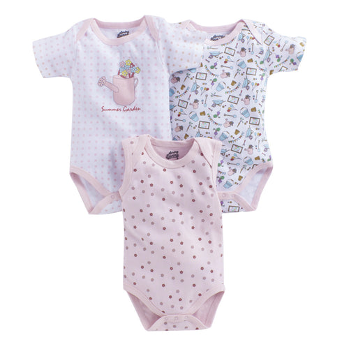 Baby Girl 'Summer Garden ' Onesie Set of 3
