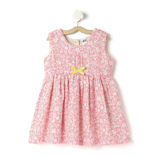 Toddler Girl 'Paulie' Printed Viscose Pink Dress