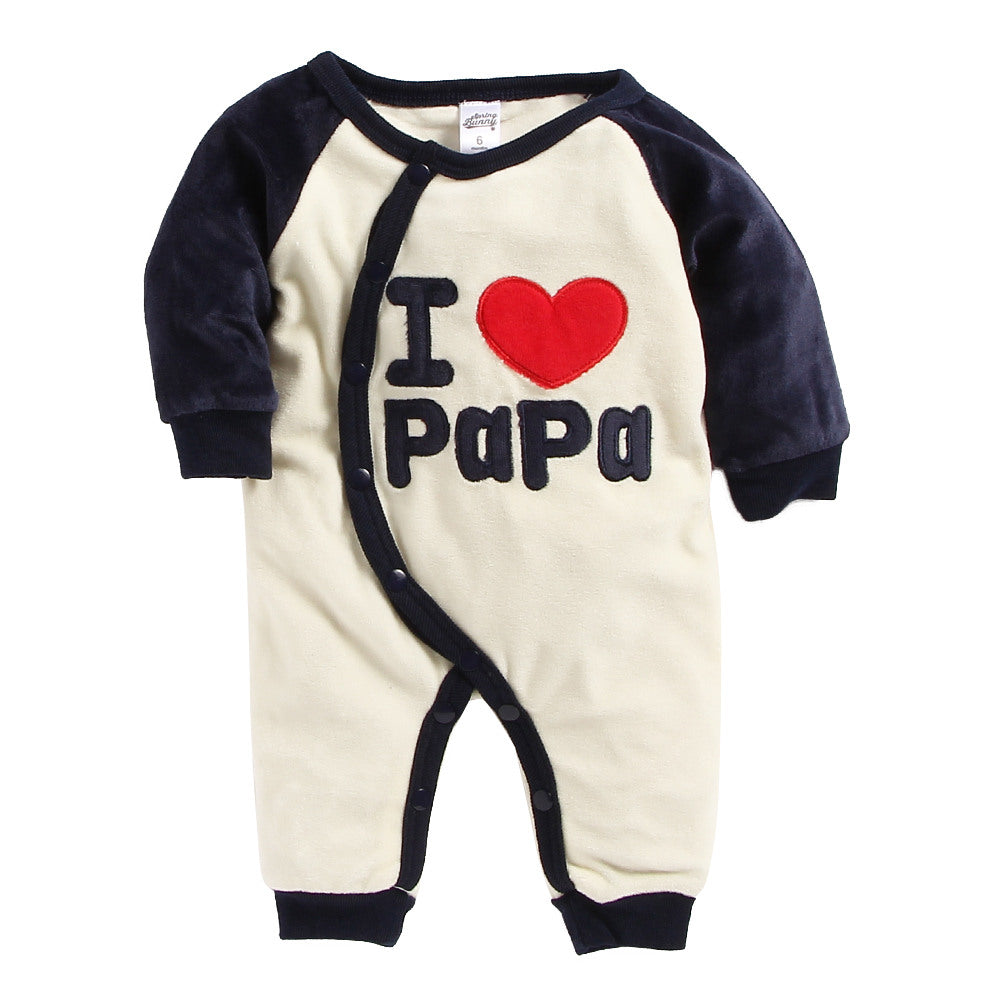 Baby Boy 'I Love Papa' Navy Romper