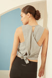Active Tie-Back Tank in Grey