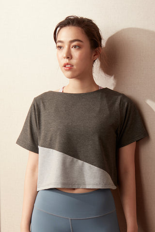 Two-tone Crop Tee in Grey