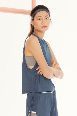 Draw String Tank in Denim