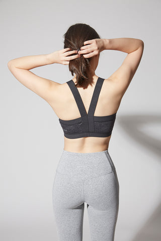 Luna Wrap-front Bra in Grey