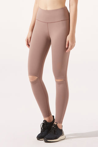 Thea Knee-Slash Legging in Taupe