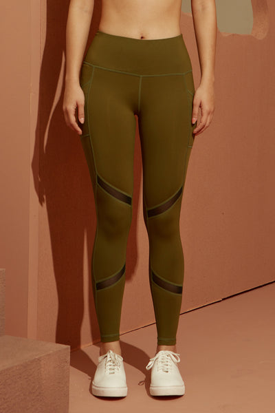 Trix Mesh Legging in Olive