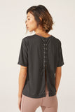 Luxe Lacey Tee in Black