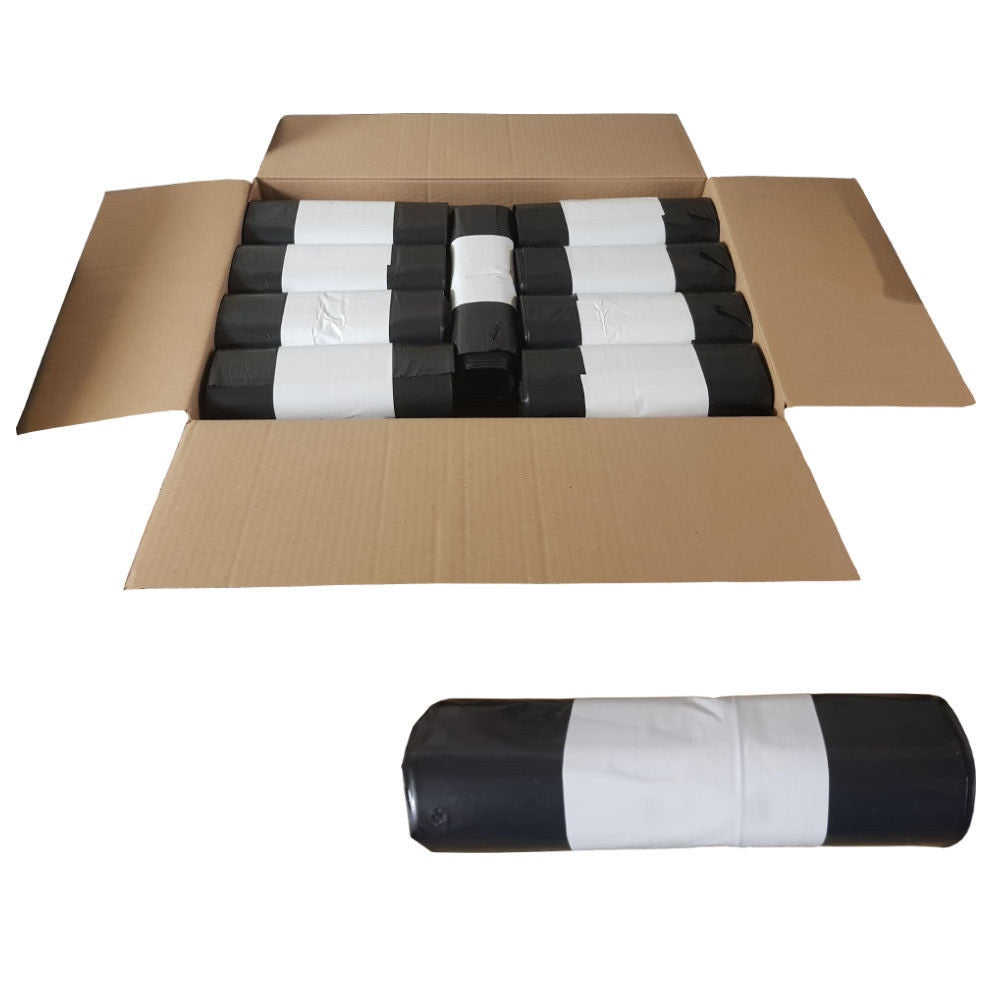 Black Bin Bags Refuse Sacks Flat Pack or Roll - Box of 200