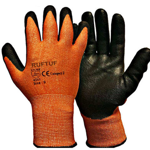 Orange Cut 3 Nylon Liner Black PU Coated Cut Resistant Work Glove - RUFTUF