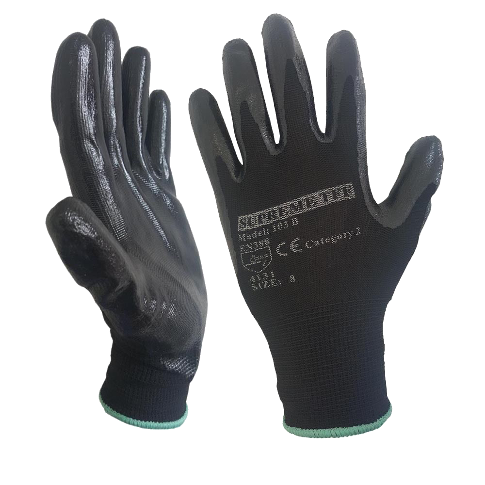120 - 240 Pairs Nitrile Coated Nylon or Polyster Liner Work Glove - RUFTUF