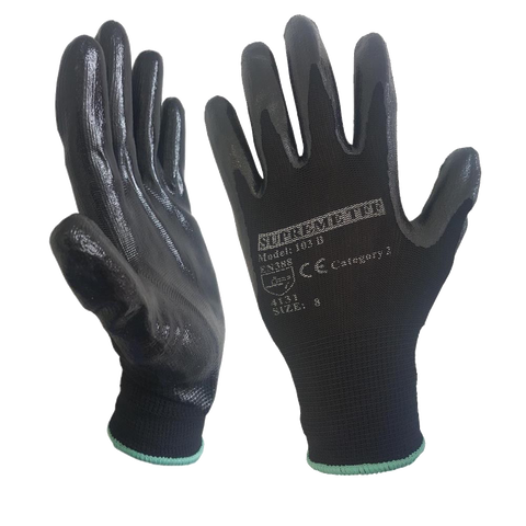 120 - 240 Pairs Nitrile Coated Nylon or Polyster Liner Work Glove