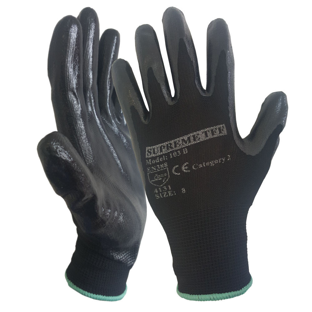 Black Nitrile Coated Nylon or Polyster Liner Work Glove - RUFTUF