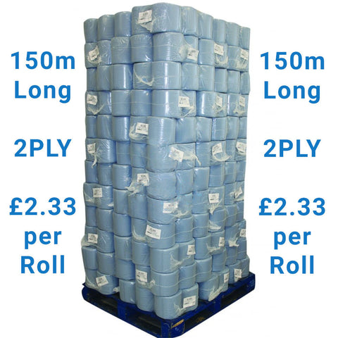 240 X 150m Long INDUSTRIAL Blue Centrefeed Rolls 2PLY Embossed Wipes Paper