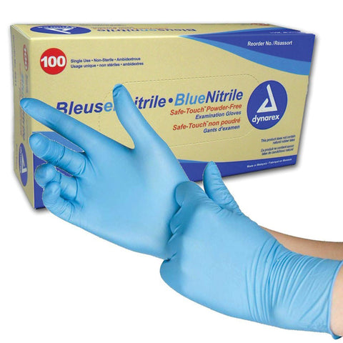 Blue Nitrile Powder Free Disposable Gloves - 50 Pairs per Box - RUFTUF