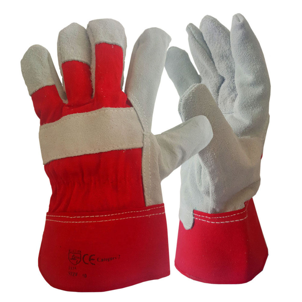Canadian Leather Red Rigger Work Glove Double Palm Heavy Duty Safety Gauntlet - RUFTUF