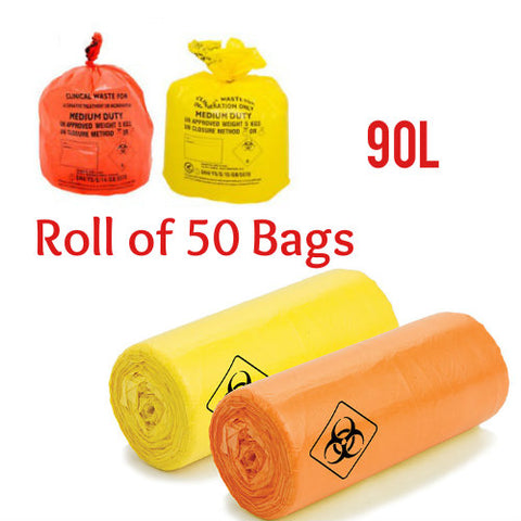 50 x Yellow/Orange Bags Clinical Waste Sack Heavy Duty Bags