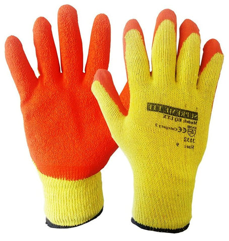 120-240 PAIRS LATEX COATED ORANGE RUBBER SAFETY WORK GLOVES - RUFTUF