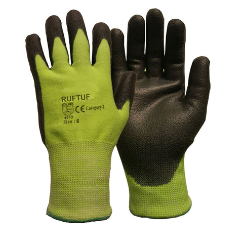 Premium Cut 5 Green Nylon PU Coated Cut Resistant Work Glove - RUFTUF