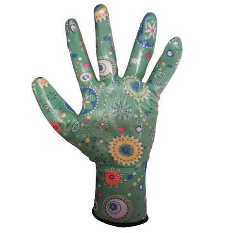 Green Floral Patterned Gardening General Purpose Work Glove - RUFTUF