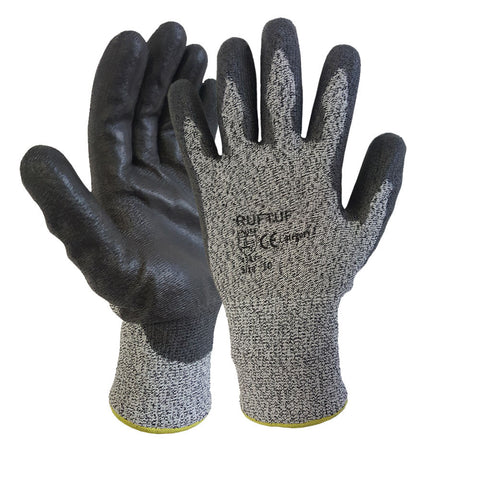 Cut 3 Grey Black Nylon PU Coated Cut Resistant Work Glove - RUFTUF